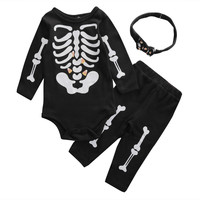 3 Pcs Newborn Kids Baby Girl Boy Halloween Outfit Set Infant Babies Bodysuit OnesuitTops+Pants+Headband Skeleton Outfits Set