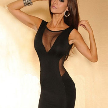 Black Sleeveless Cut-Out Mesh Deep V-Cut Back Bodycon Mini Dress