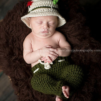 On Sale Newborn Fishing Hat and Pants, Photo Prop Hat and Pants
