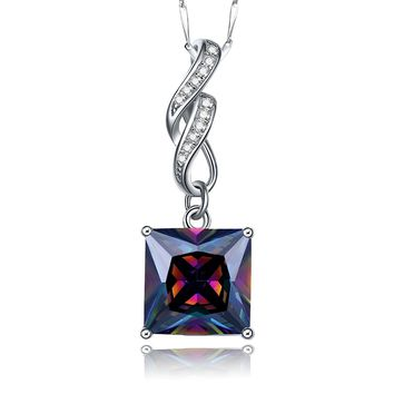 Merthus 925 Sterling Silver Square-shaped Mystic Rainbow Topaz Pendant Necklace Jewelry for Women,18""