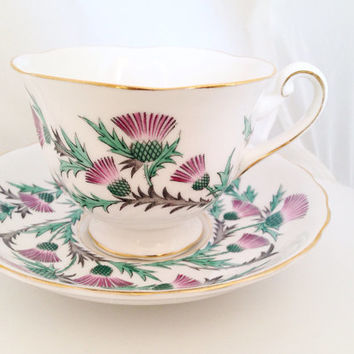 Scottish Thistle Royal Chelsea English Fine Bone China Vintage Teacup & Saucer Set - purple green scotch thistle thistles- gold gilded edge