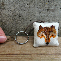 Fabric keychain with fox. Hand embroidered keychain for fox lovers. Eco-friendly gift