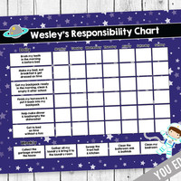 Kids chore chart, Reward Chart, Chore chart, Responsibility Chart, Weekly Chore Chart, Behavior Chart, Chore Chart for Kids, YOU EDIT PDF