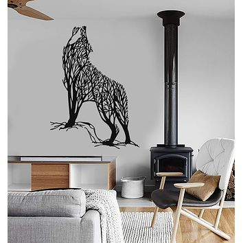 Vinyl Wall Decal Abstract Tree Wild Howling Wolf Predator Animal Stickers (2613ig)