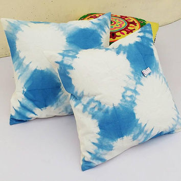 Decorative Pillow Cases Indian Art Tie Dyed Indigo Blue Cushion Covers Interior Home Sofa Cushions Christmas Gifts Shibori Gypsy Pillows