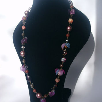 Fantasy necklace with gemstones, faux pearls, leaves * Long purple necklace * Inspiration *