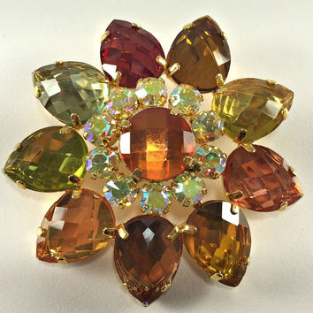 Rhinestone Statement Brooch Hollywood Regency Earth Tone Flower Joan Rivers Designer Jewelry Vintage Jewelry Gardener Gift