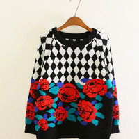 Rose check sweater women