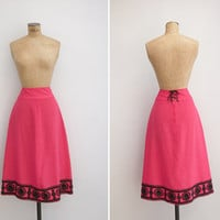 1970s Skirt - Vintage 70s Hot Pink Corset Skirt - Surfinia Skirt