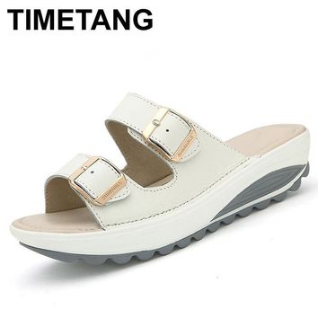TIMETANG New Summer women sandals buckle genuine leather platform shoes rubber outsole