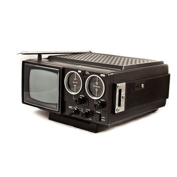 Vintage Television Portable TV with Radio by goodmerchants on Etsy
