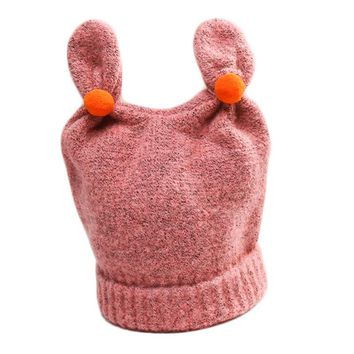 2017 New Fashion Autumn Winter Children's Cotton Hat High Quality Baby Rabbit Ears Ball Cap Cute Boys and Girls Warm Knit Hat