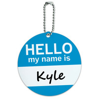 Kyle Hello My Name Is Round ID Card Luggage Tag