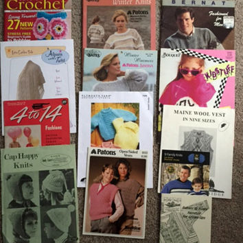 Lot 12 Vintage Knitting Pattern Crochet Patterns Adults Men Women Kids Baby Sweaters Vests Wraps