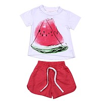 Two Pieces Kids Clothes Set Summer Fruit Watermelon Printed T-Shirt Short Sleeve Short Pant Toddler Suit Baby Clothing Set