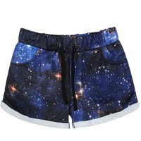 Hot Starry Sky Print Sports Shorts with Drawstring Waist