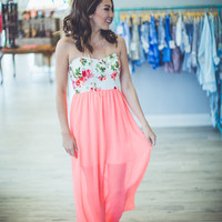 Neon Floral Maxi in Coral