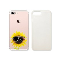 Sunflower Wearing Glasses Transparent Plastic Phone Case for iphone 7 _ SUPERTRAMPshop (iphone 7)