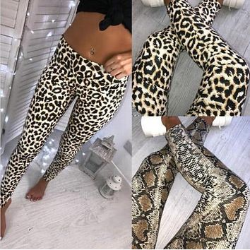 Fashion Leopard Snake Skin Women Pants High Waist Skinny Stretchy Pencil Trousers Leggings Ladies Hot Long Slim Pants 2019