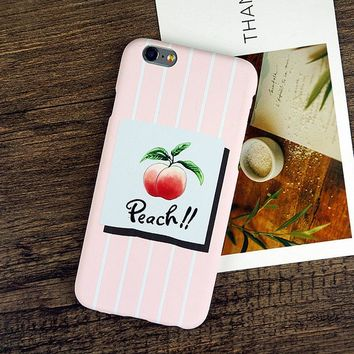 Case For iphone 5S 5 SE 6 6S Plus 7 7Plus Cute Juicy Peach Hard PC Phone Cases Back Cover Coque