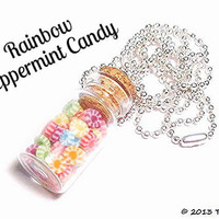 Rainbow Peppermint Candy Bottle Necklace by TinyFood on Etsy