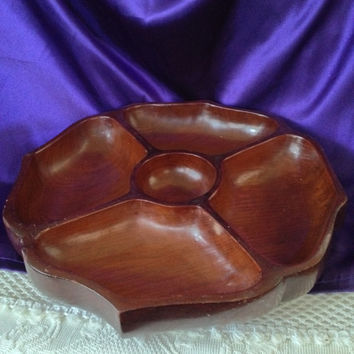 Carved Wood Sectional Tray, Centerpiece Bowl, Monkey Pod, Acacia Wood, Snack Tray, Chips, Dip Server, Dresser Valet Tray