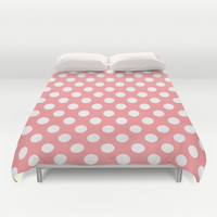 Coral Cream Peach Polka Dot Pattern Duvet Cover by RexLambo