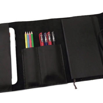 Leather Portfolio, Leather iPad Mini Sleeve, Pencil case, Moleskine Cover, Leather Organizer, Full Grain Italian Leather