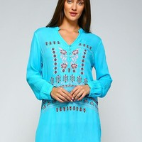 Plus Size Embroidered Gauze Boho Tunic Top