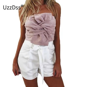 UZZDSS Sexy suede bow strapless top Casual spring zipper camisole tank women tops Elegant evening party club crop top bustier