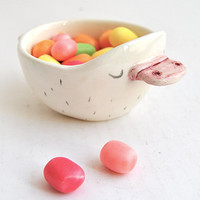 Ceramic Baby Platypus Bowl in White Clay and Decorated with Pigments in Pink and Black Colors