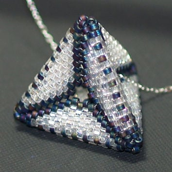 Crystal Pyramid ... Pendant . Necklace . Sterling Silver Chain . Geometric . Beadwoven . Sparkly . Matte Iris . Blue . Purple . Chic