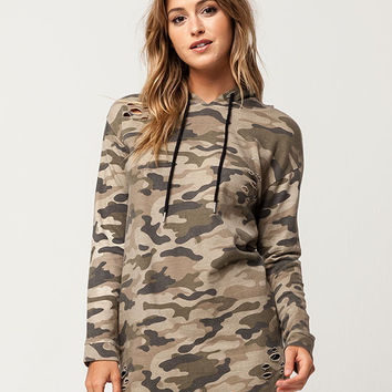 POLLY & ESTHER Destructed Camo Womens Hoodie | Sweatshirts + Hoodies