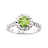 Genuine Peridot and CZ Halo Ring