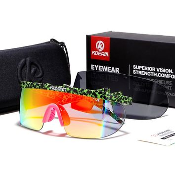 Summer Women Goggle Oversized Party Sunglasses flat top Square Sunglasses Sports eyewear Men 2 lens