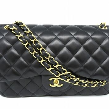 Chanel Quilted Lambskin Leather Jumbo Chain Shoulder Bag Black 0180