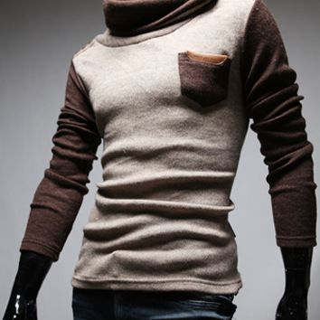 Mens Edgy Slim Pullover Sweater
