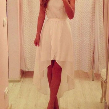 White High-Low Chiffon Dress