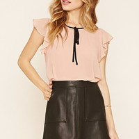 Chiffon Self-Tie Blouse
