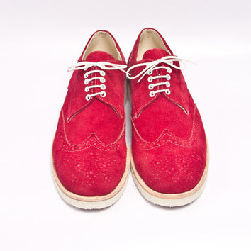 Red Suede oxford brogues shoes - FREE WORLDWIDE SHIPPING