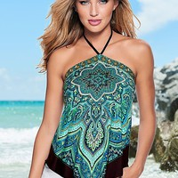 Printed Handkerchief Top in Teal Multi | VENUS
