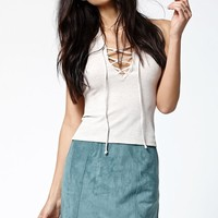 Kendall & Kylie Faux Suede A-Line Skirt - Womens Skirt - Blue