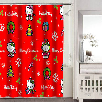 hello kitty merry christmas shower curtains adorabel bathroom heppy shower curtains.