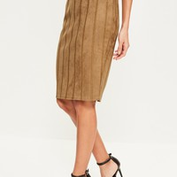 Missguided - Tan Faux Suede Stitch Detail Midi Skirt