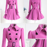 Fall Winter Fashion 2016 Coat Women's Fashion Winter Jacket Waistband Trenchcoat [9584857418]