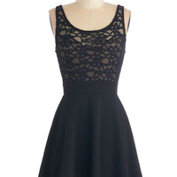 ModCloth LBD Short Length Sleeveless A-line Little Black-Lace Dress
