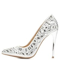 Silver Rhinestone Embellished Pumps by Charlotte Russe