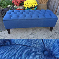 Bench Ottoman. Aqua Blue. Diamond Tufted [Bed bench, Hallway Bench, Footstool]- Custom Upholstery