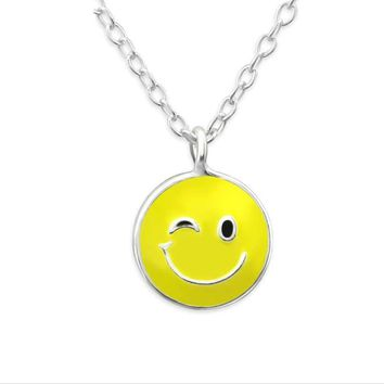 925 Sterling Silver Yellow Emoji Smile Necklaces