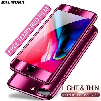 BALMORA Full Cover Plating Mirror Case For iPhone 6 6s 7 8 Plus X 360 Degree Protective Phone Cases For Apple 7 plus Hard Coque